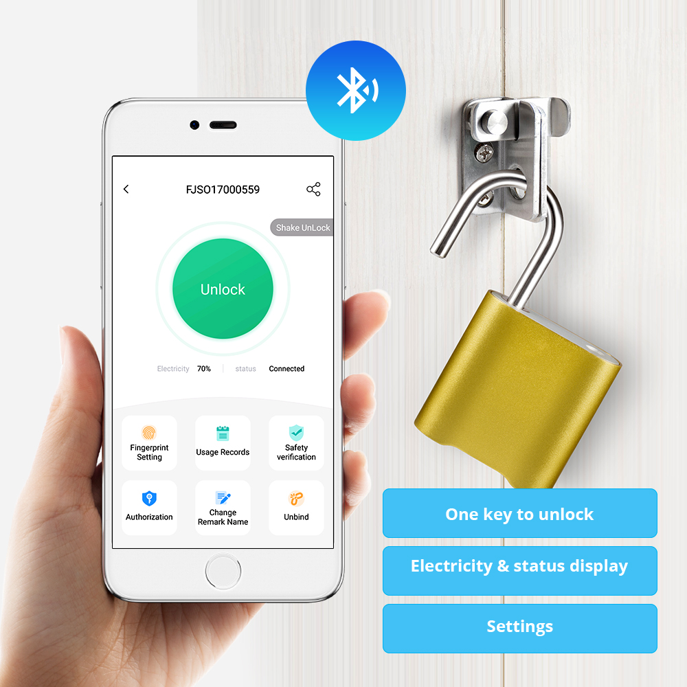 Mini Bluetooth Lock IP65 Waterproof Keyless Fingerprint Unlock Anti Theft USB Padlock Door Lock IOS Android Phone APP ControI image