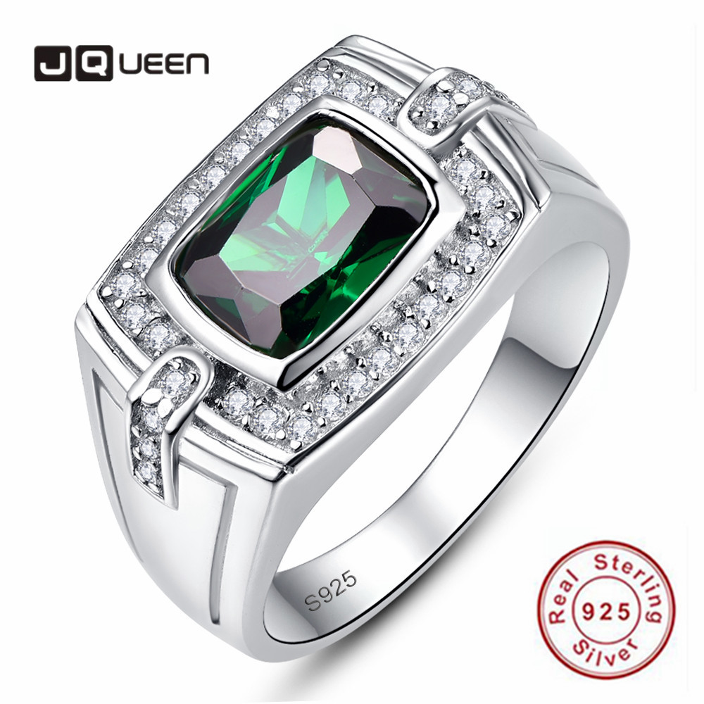 JQUEEN 925 Sterling Silver Men's Rings Long Rectangle Emerald Pave Diamond Ring For Men Luxury Cubic Zirconia Wedding Rings
