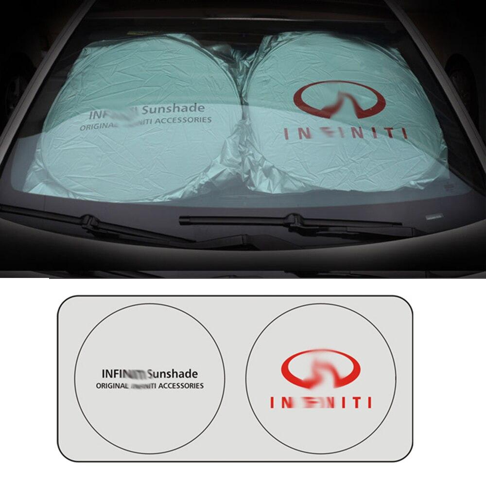 โลโก้รถหน้าต่างด้านหน้ากระจกบังแดดฉนวนกันความร้อนสำหรับ Infiniti Q50 Q60 Q70 FX35 G35 G37 QX70 M35 FX37 QX56 QX60 EX35