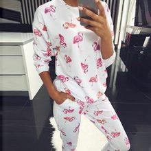 Pyjama manches longues en coton pour femmes, ensemble de pyjama pour Couple, motif flamand rose, motif floral, vêtements de nuit