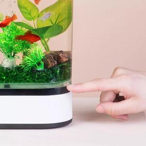 Image 4 - Xiaomi mijia geometria mini tanque de peixes preguiçoso usb carregamento auto limpeza aquário com 7 cores led luz do escritório em casa aquário