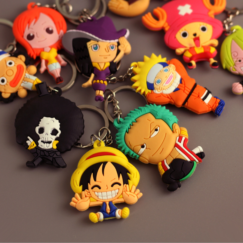 Anime One Piece 3D Keychain PVC Model Key Finder Rings Toys Luffy Zoro Sanji Nami Usopp Chooper Robin Brook Franky Keychain Cute