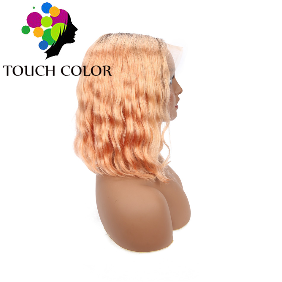Ombre Colored 13x4 Short Bob Wig Mongolian Body Wave Human Hair Lace Frontal Wigs For Black Women Remy Hair Lace Frontal Wig