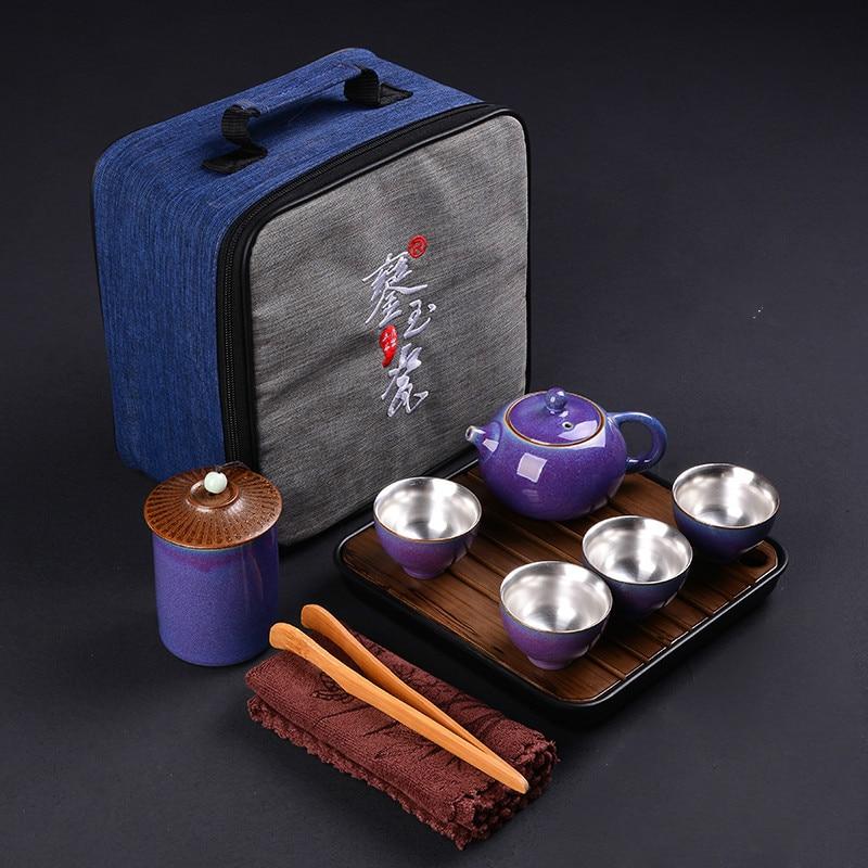Sterling Silver Travel Tea Set Full Ceramic Mosaic Kung Fu Tea Set Office Home Teapot Tea Cup Gift