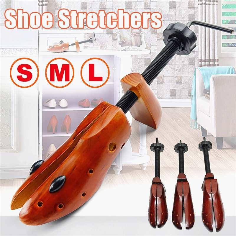 2Pcs/Pair Shoe Tree Wood Shoes Stretcher, Wooden Adjustable Man Women Flats Pumps Boot Shaper Rack Expander Trees Size S/M/L