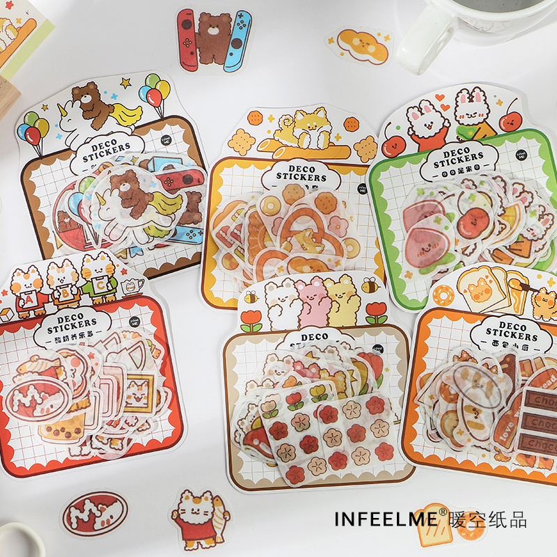 40 Pcs Cute Animals Busy Happy Series Journal Decorative Stickers Scrapbooking Stick Label Diary Stationery Album Bread Stickers