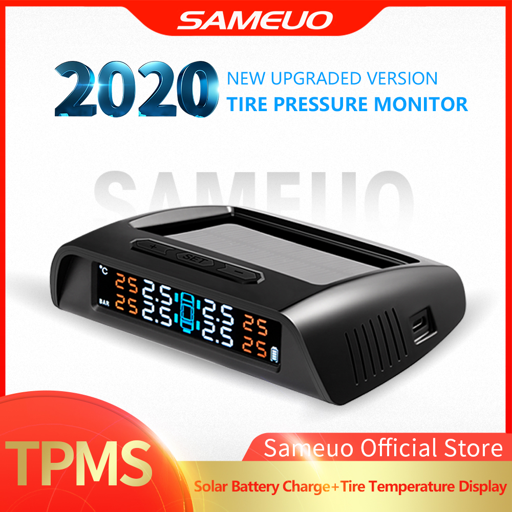 Sameuo TPMS sensor TPMS Car Tire Pressure Alarm Monitor System glass wireless Solar power tpms with 4 external senso for cars