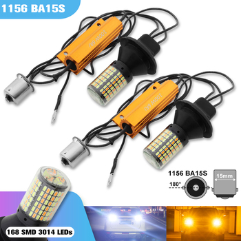 2Pcs 7440 BA15S BAU15S 1156 T20 LED Bulb Canbus 168SMD Error Free White Amber Double Color DRL PY21W P21W Car Turn Signal Light 1156 bau15s py21w dual color white ice blue amber yellow switchback led turn signal light error free canbus with resistor drl