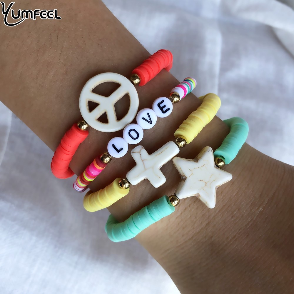 Yumfee Brand New Bohemian Soft Pottery Star Bracelet Set Women Handmade Cross Star Peaceful sign Stone Bracelet  Ploymer Jewelry|Charm Bracelets|   - AliExpress