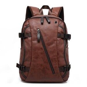 Image 1 - Nouveau vintage hommes sac à dos mode style PU cuir école étudiant sacs ordinateur sac voyage sacs à dos