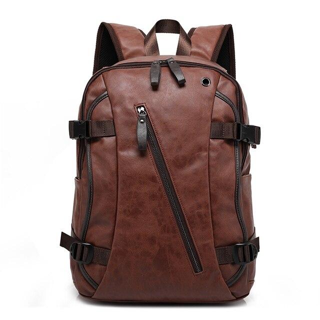 Nouveau vintage hommes sac à dos mode style PU cuir école étudiant sacs ordinateur sac voyage sacs à dos