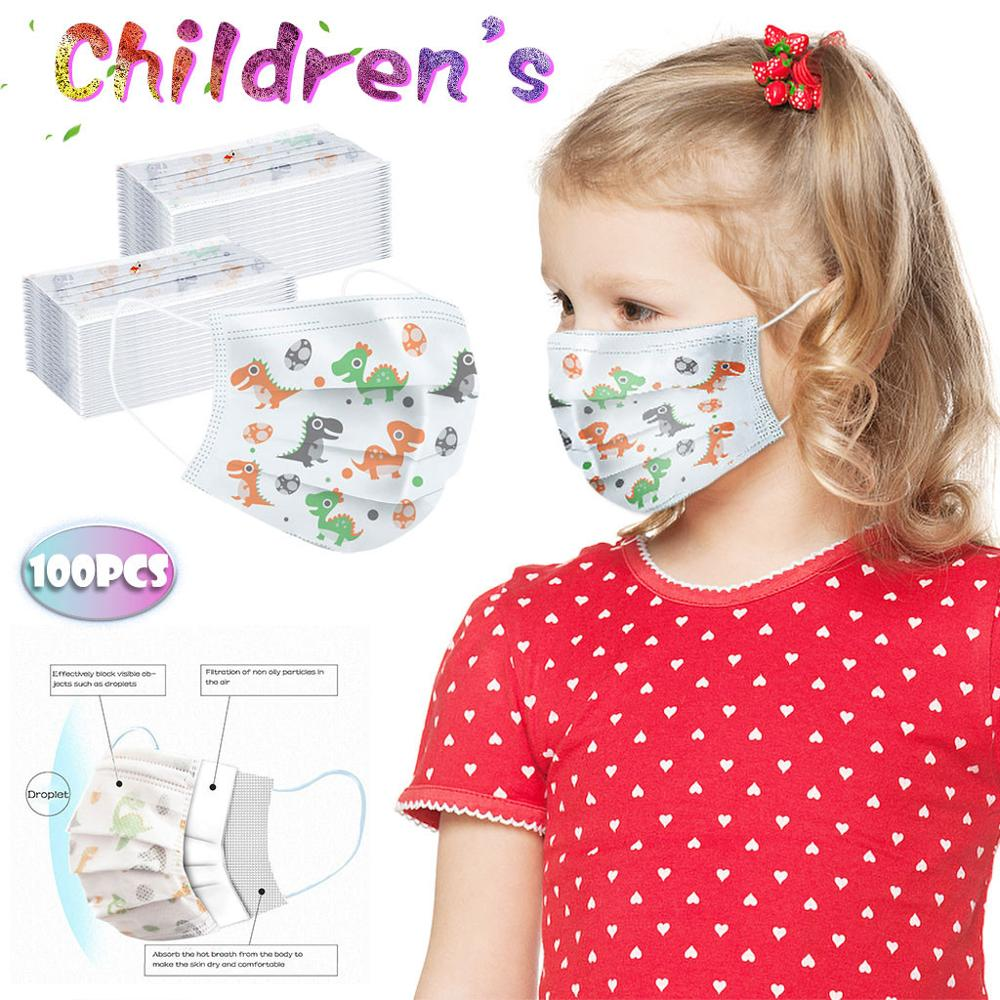 100PC Faceshield Children's Kids Maske For Face Disposable 3ply Ear Loop Face Maskswashable And Reusable Mondkapjes The To USA