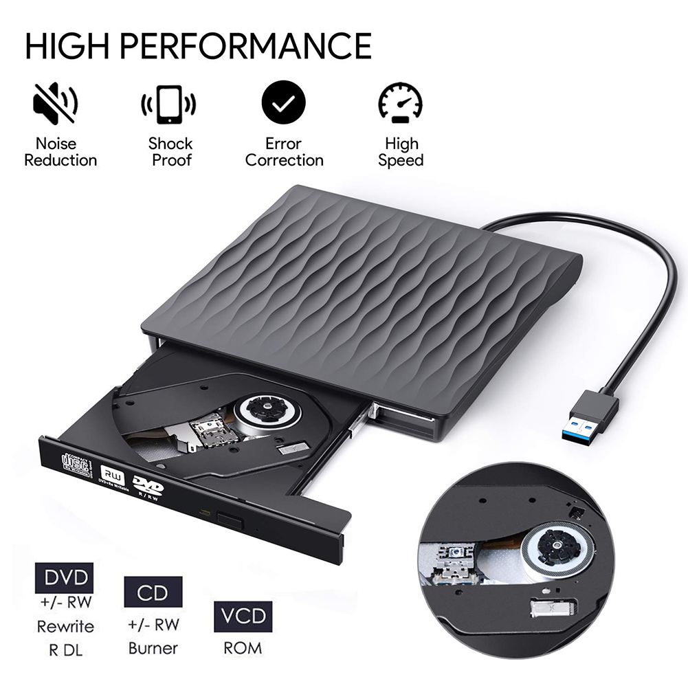 USB 3.0 External CD Drive DVD RW CD Burner Slim High Speed CD Reader Player for Any Laptop Desktop Optical Drive