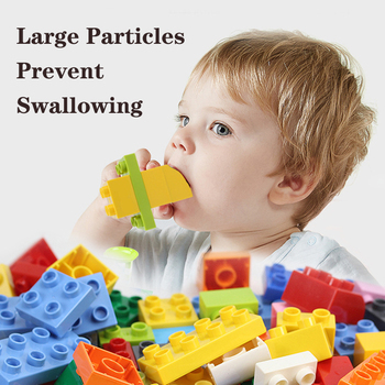 60~360Pcs Big Size Brick Colorful Bulk Bricks Base plates DIY Building Blocks Compatible Duploe Block Toys For Children 2