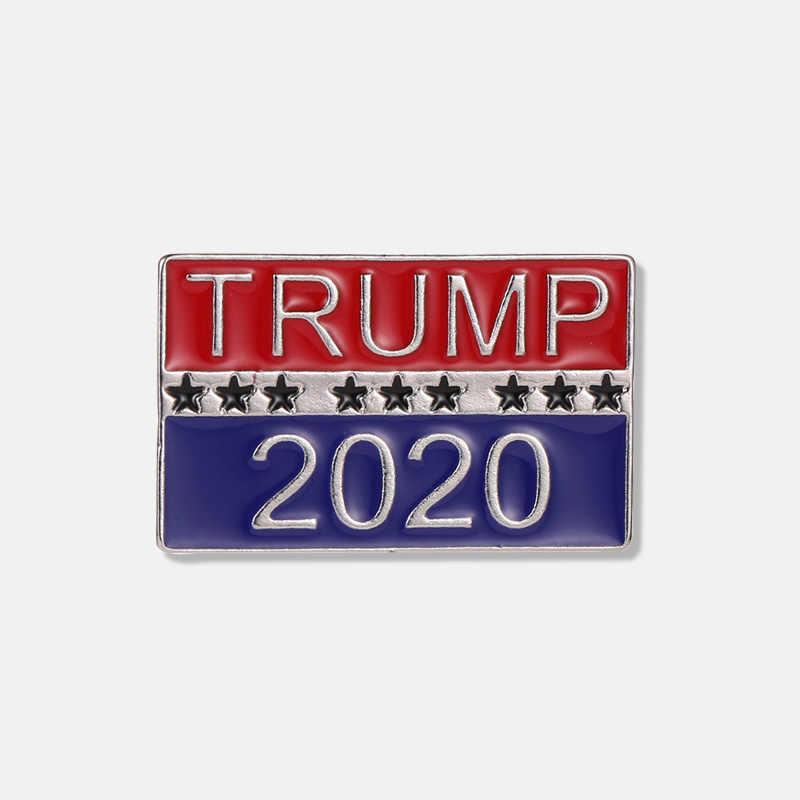 트럼프 2020 크리 에이 티브 브로치 편지 브로치 칼라 바늘 패션 데님 셔츠 옷깃 핀 여자 남자 남자 소년