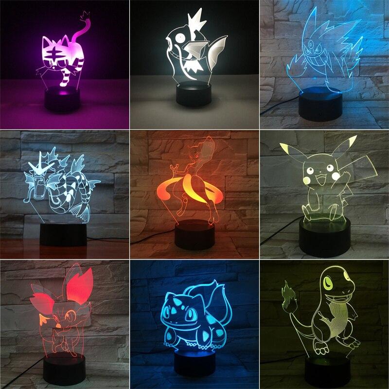 Takara Tomy Pokemon Pikachu Mewtwo Eevee Charizard Greninja 3D LED Night Light Action Figure Toy Christmas Gift