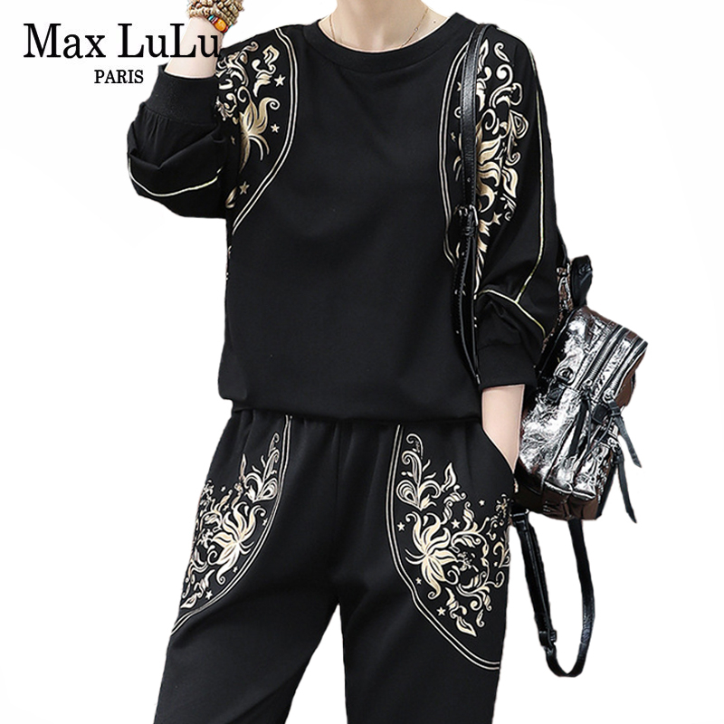 Max LuLu 2020 Spring Fashion Ladies Casual Two Piece Sets Women Floral Tops And Harem Pants Vintage Printed Tracksuits Plus Size