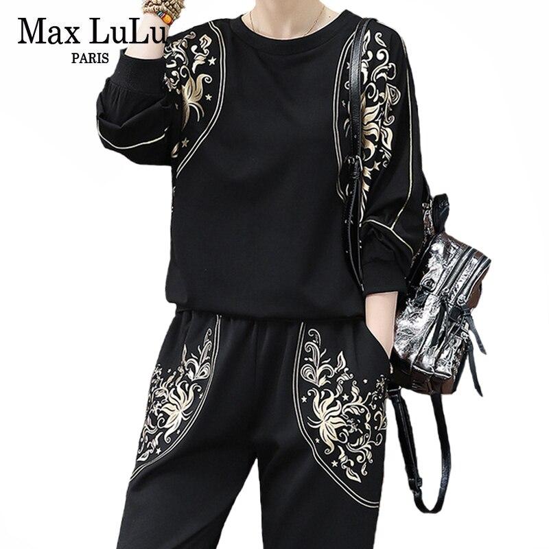 Max Lulu de la primavera de 2020 de las señoras de moda Casual conjuntos de dos piezas Floral de las mujeres, camisetas y pantalones de harén Vintage chándales con estampado de talla grande