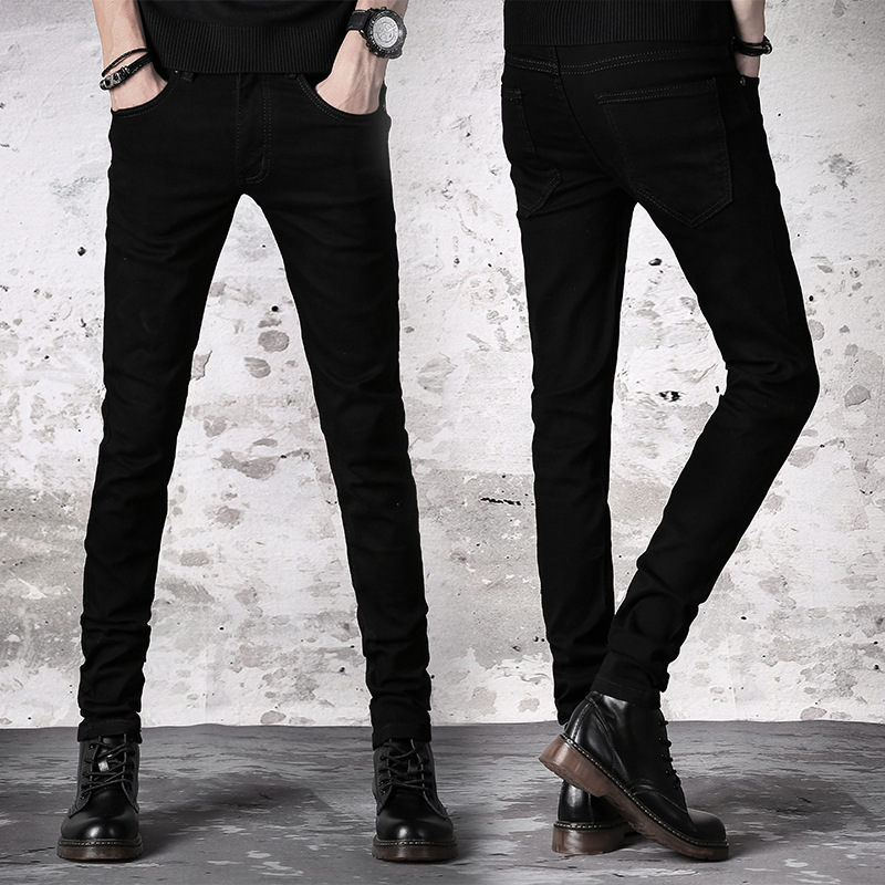 Autumn And Winter New Style Black And White With Pattern Trend Jeans Men's Teenager Korean-style Slim Women's Students Skinny Pa