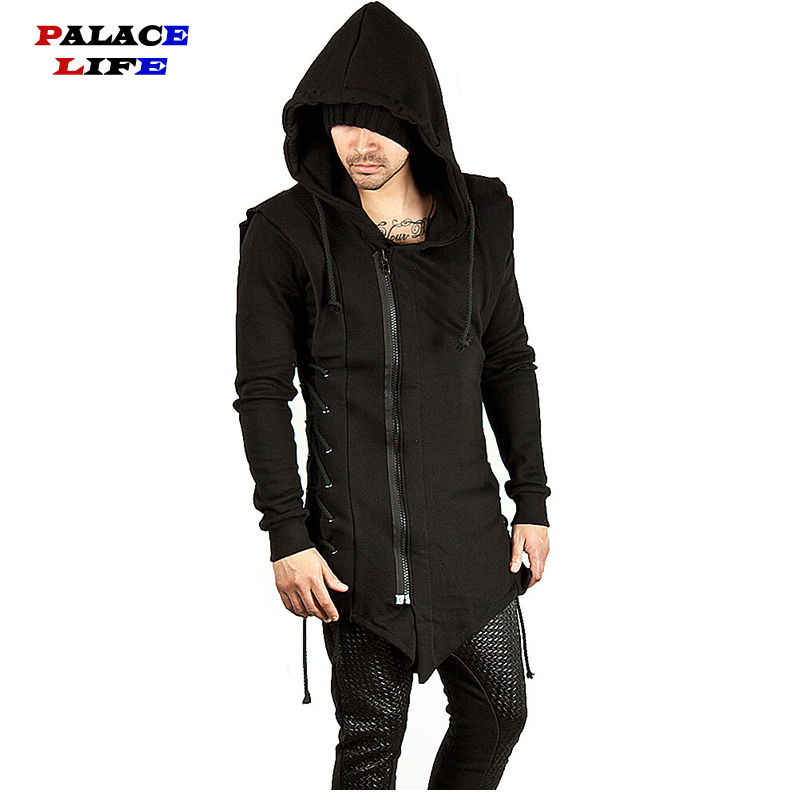 Assassin Creed Sweatercoat Dark Tie Slim Fit Hooded Coat Zipper Hoodies With Side Lashing Crossed Black Dark Grey Hoodies Men