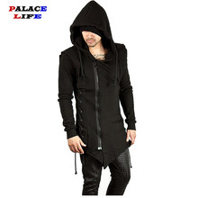 Assassin Creed Sweatercoat Dark Tie Slim Fit Hooded Jas Rits Hoodies Met Side Sjorren Gekruiste Black Dark Grey Hoodies Mannen(China)