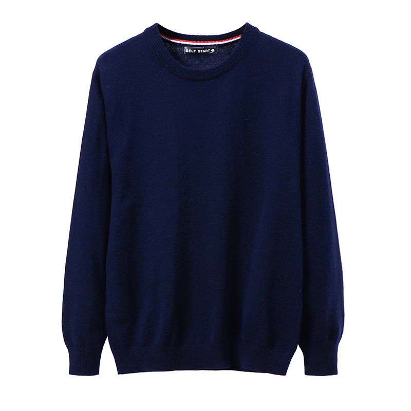 2019 New Spring And Autumn Men's Cotton Sweater High Quality Fashion Solid Color Men's Long Sleeve Pullover Bottoming Sweater