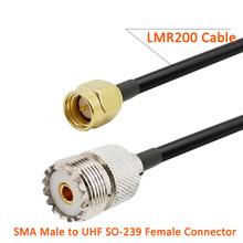 SMA męski na UHF SO-239 żeński Pigtail RF LMR200 złącze kabla LMR-200 SMA wtyk do UHF SO239 Jack koncentryczny Adapter do anteny 1-15M tanie tanio ALLiSHOP CN (pochodzenie) NONE SMA Male to UHF SO-239 Female Coaxial Cable Copper SMA Male Plug UHF SO-239 Female Jack Socket