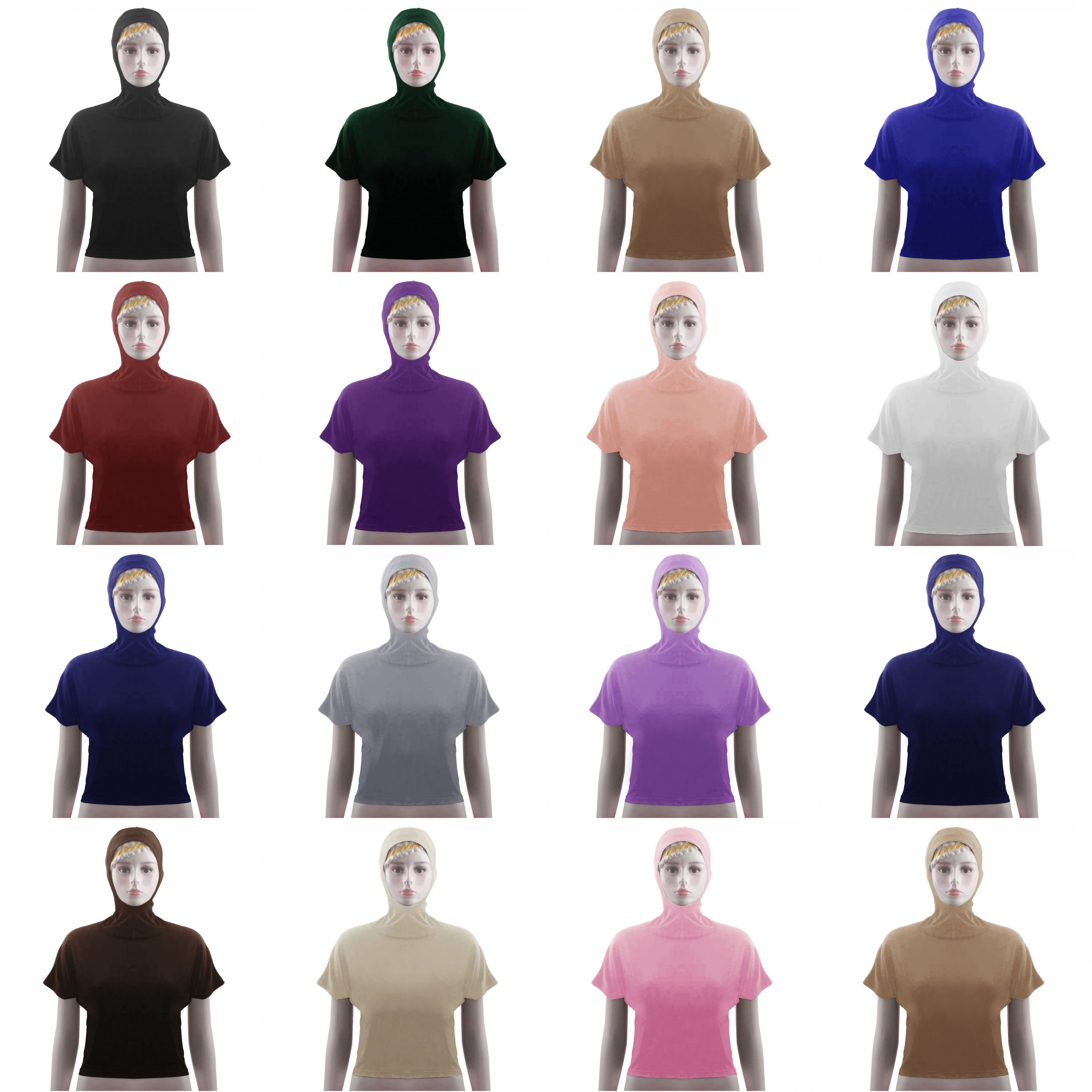 Dromiya Plain Women Muslim Top Hooded Sunscreen Crop Tops Short Sleeve Blouse Stretch Beach Wear Swimwear Neck Chest Full Cover