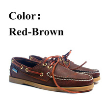Boat Shoes Brown Docksides Flat-Loafers Homme Casual Genuine Brand Nubuck for Femme Red