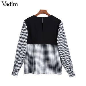 Image 4 - Vadim נשים אופנה משובצת טלאי חולצה ארוך שרוול O צוואר חולצות נקבה מקרית אופנתי חולצות blusas LB588