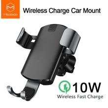 Mcdodo araba Qi kablosuz iphone şarj cihazı XR XS Max 8 yerçekimi tutucu hızlı kablosuz şarj için hava firar araba telefonu için şarj cihazı