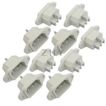 10 piezas AC 250V 10A 3 terminales C14 macho de alimentación de entrada de enchufe conector blanco