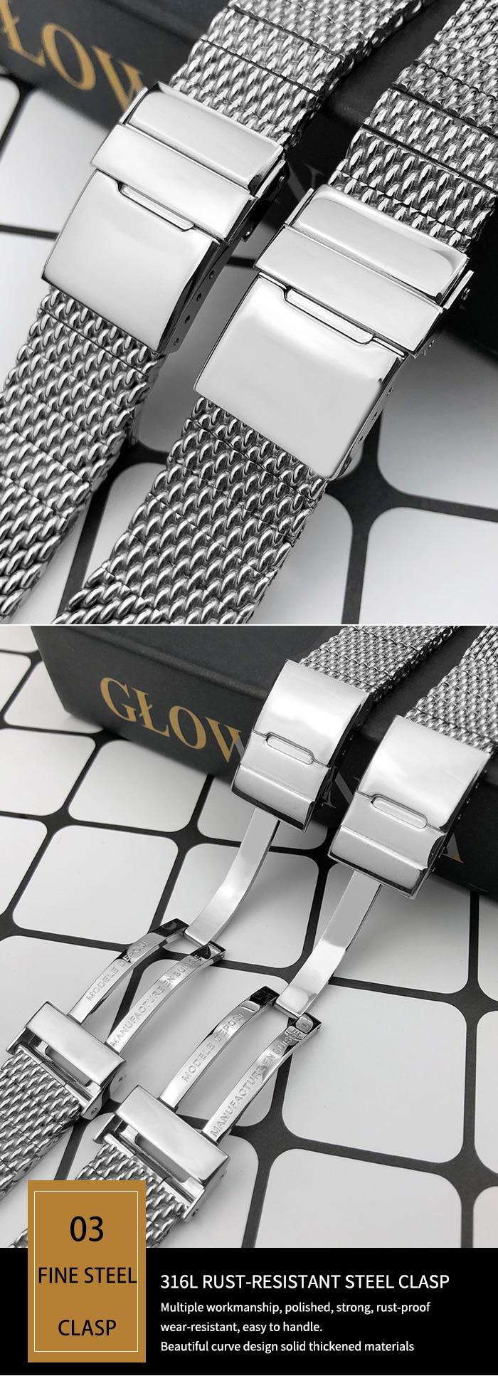 sólido metal pulseiras malha cinta tecida