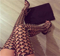 Sexy Studded Rivets Long Gladiator Sandals Chic Rome Style Cut Outs Thigh High Sandals Open Toe High Heels Shoes Woman Big Size