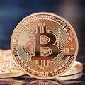 50 stücke Gold Überzogen Bitcoin Münze Kunst Souvenir Großes Geschenk Sammeln Physikalische Metall Bit Münze Gedenkmünze Mit Acryl Box