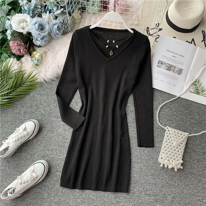 Autumn Thin Solid Long Women Sweaters V Neck Hollow Out Stretch Vintage Pullovers 2019 Slim Elegant Sueter Mujer in Dresses from Women 39 s Clothing