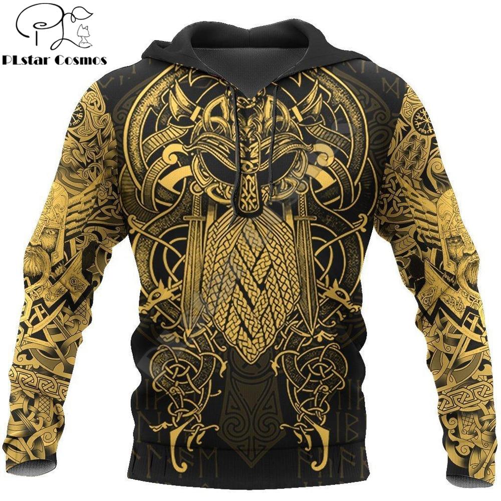 Vikings - The Raven Yellow of Odin Tattoo 3D Printed Hoodie Sweatshirt Harajuku Fashion hoodies Unisex Casual Jacket pullover