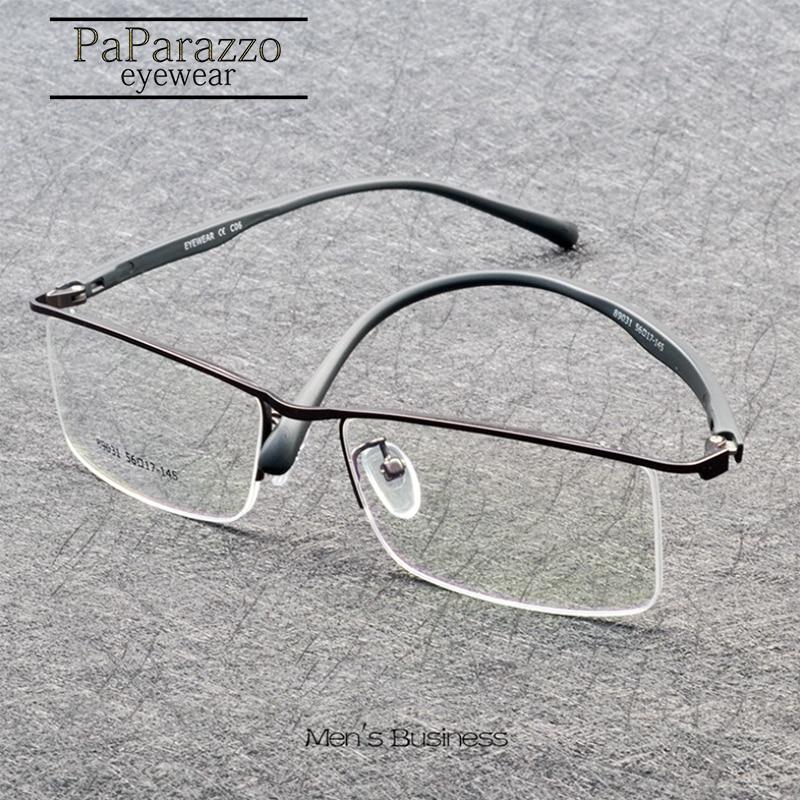Brand Design Business Men Metal Myopia Glasses Frame Half Frame TR90 Prescription Eyeglasses Superelastic Legs oculos de grau in Men 39 s Eyewear Frames from Apparel Accessories