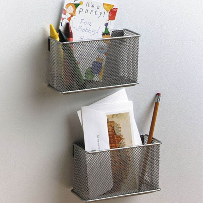 Durable Refrigerator Wire Mesh Magnetic Basket Storage Box Pen Makeup Organizer