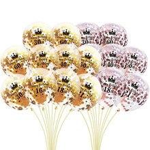 5 adet gül altın konfeti lateks balonlar numarası doğum günü balon mutlu 18 21 30 40 50 60th doğum günü partisi malzemeleri şişme top