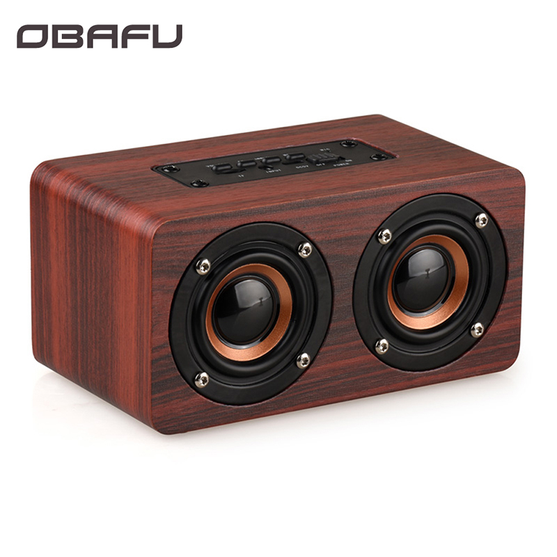 Obafu de madeira sem fio bluetooth alto-falante portátil alta fidelidade choque graves altavoz tf caixa som soundbar para iphone sumsung xiaomi