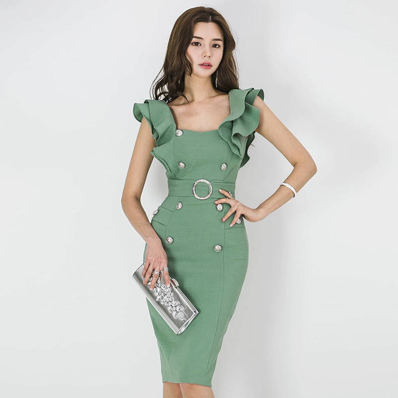 BacklakeGirls Solid Green Color Women Ruffle Sleeves Knee Length Dress Button Ladies Slinky O Neck Bodycon Dress Summer 2020