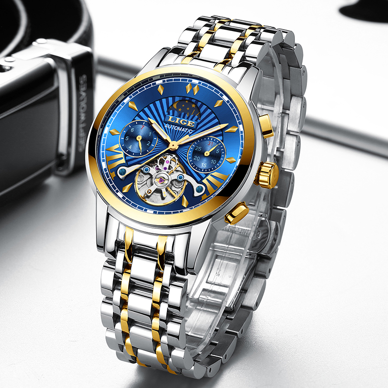 Image 3 - LIGE Men Watch Tourbillon Automatic Mechanical Watch Top Brand Luxury Stainless Steel Sport Watches Mens Relogio Masculino 2019-in Mechanical Watches from Watches