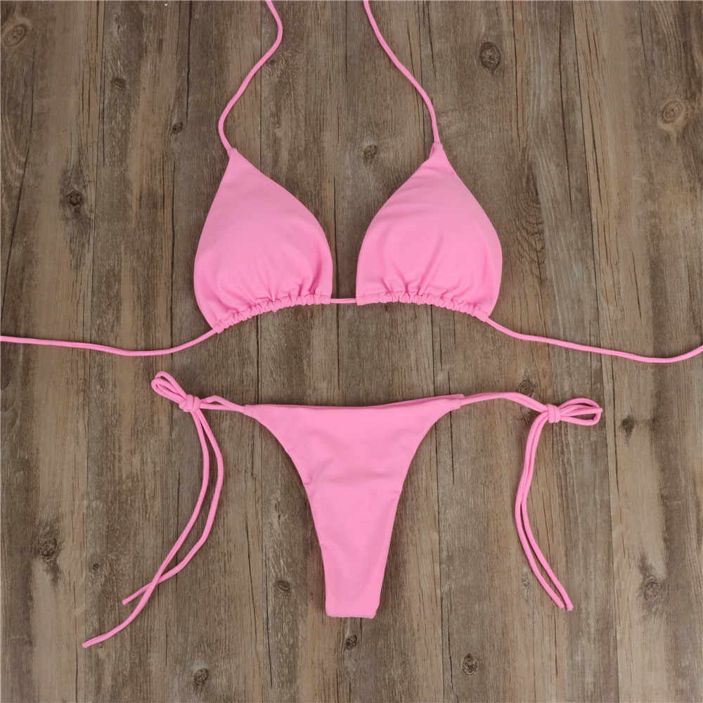 2 Wanita Musim Panas Baju Renang Bikini Baju Bra Dasi Sisi Thong Thong Thong Beach Segitiga Baju Renang Pakaian Renang Baju Renang