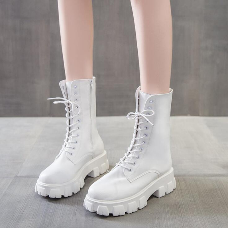 Fashion Women Cross Strap PU Leather Boots femmes bottes High Boots Ladies Thick Sole Platform Botas Mujer Martin boots
