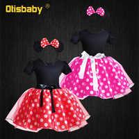 Bebé niña tutú Dot vestido 6 mes 12 3 4 5 6 años vestido de cumpleaños niños vestidos de bautizo negro rojo vestido de Mickey Minnie Mouse vestido