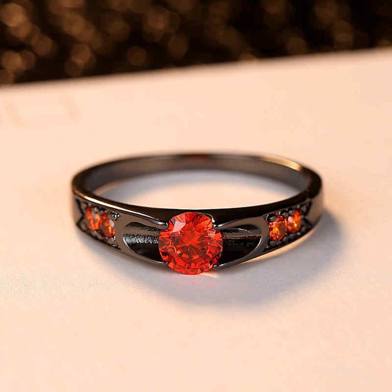 หมั้นเครื่องประดับของขวัญ Regalo De Joyera De San Valentn เงาสีดำ Rose Gold แหวนคริสตัลแหวนผู้หญิง