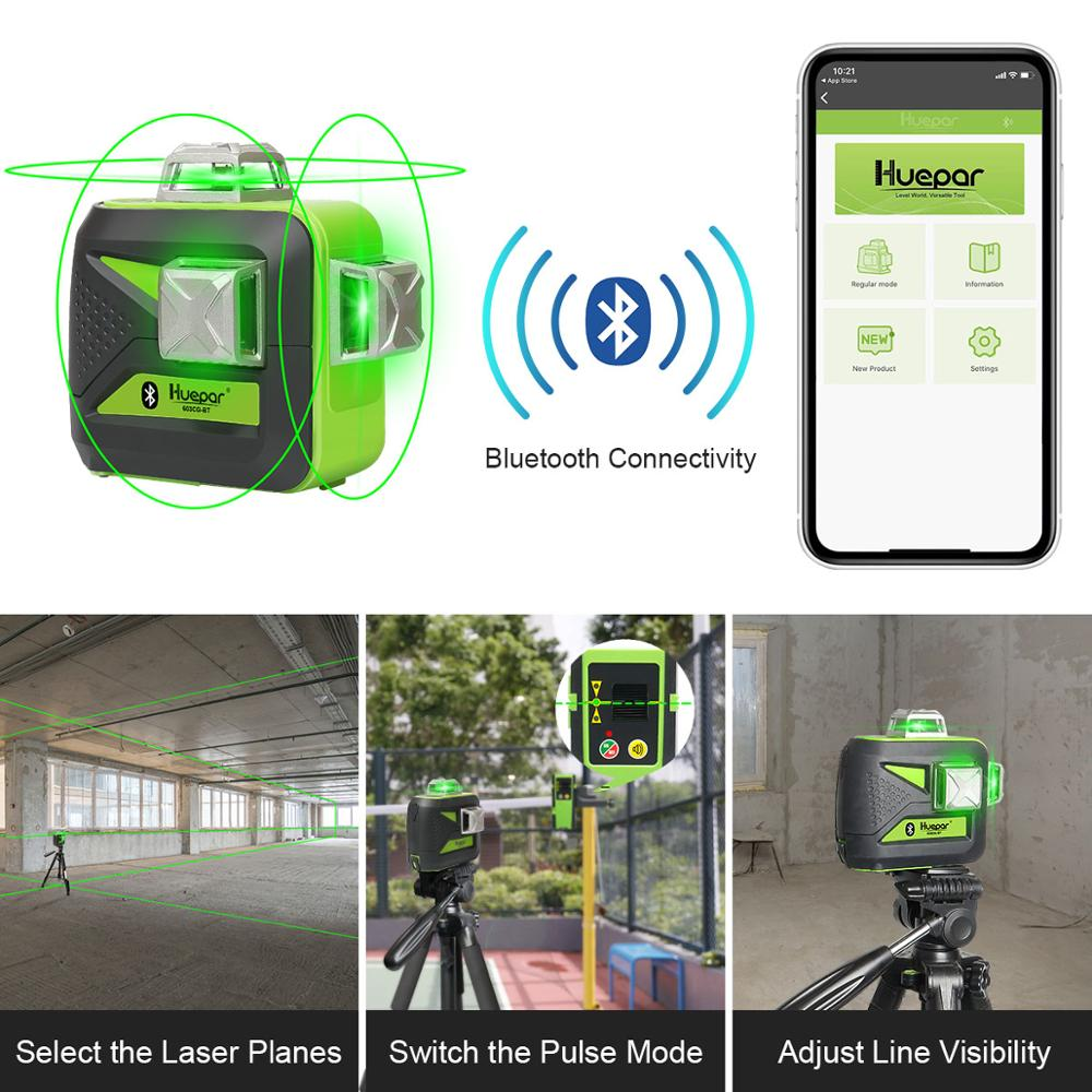Connectivity  USB Laser Use Battery Level Bluetooth Li Ion  With 3D 3x360 Cross Line Green Charge Leveling Huepar Amp Dry Self Beam