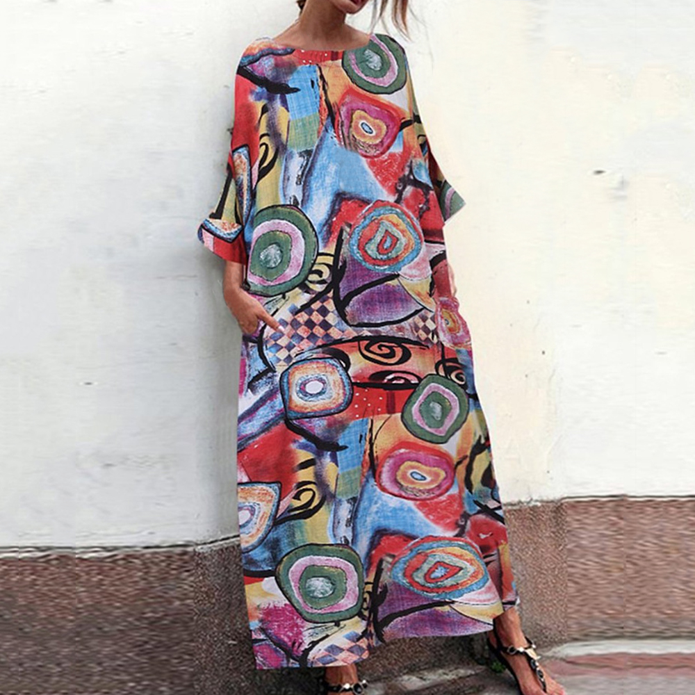 WENYUJH 2020 Autumn Summer Long Maxi Dresses Dress Women Vintage Vestidos Robe Pleated Printed Plus Size Femme 3/4 Sleeve