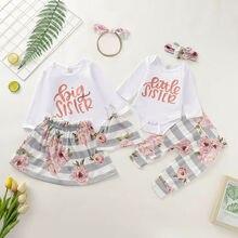 Одежда для сестер; комбинезон для маленькой сестры; штаны; Детские топы для больших сестер; штаны